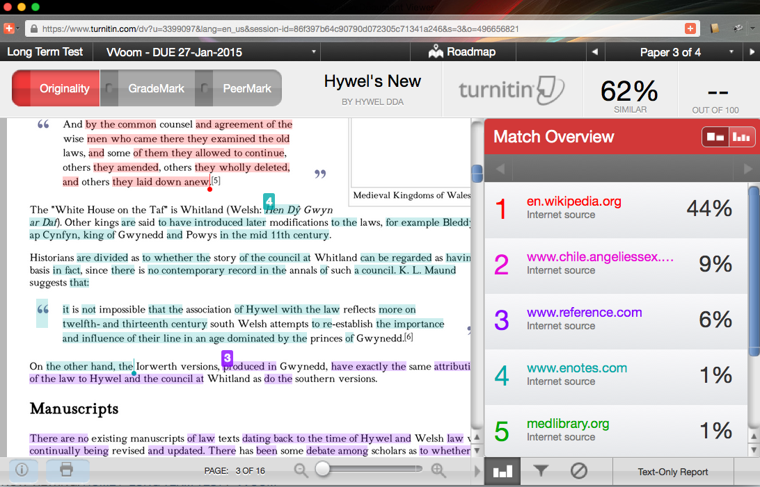 Turnitin document showing 3 highlighted colors for 3 sources - Wikipedia, Enotes.com and Reference.com
