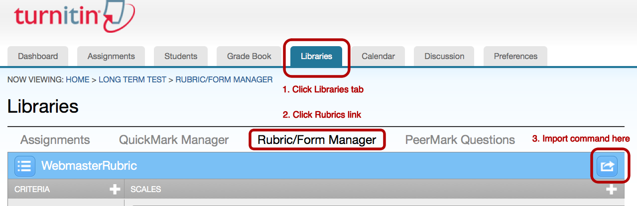 Rubric Manager screen