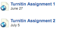 Lessons tab with links to two different Turnitin assignments.