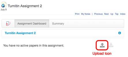 Turnitin screen showing upload icon.